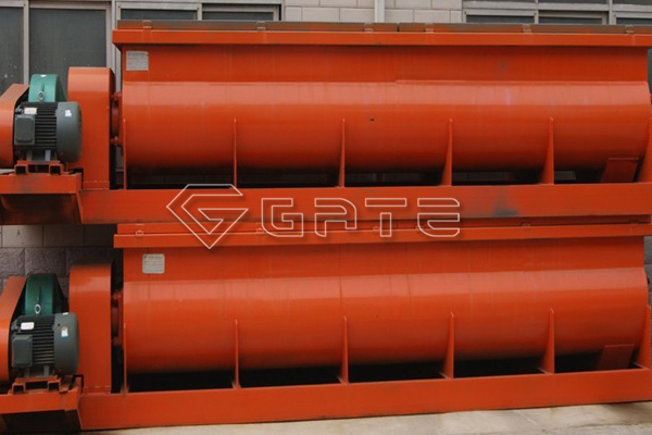 What are the main components of the Gate double shaft mixer for fertilizer?